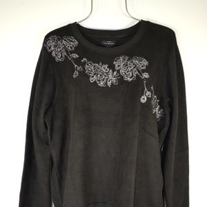 Lucky Brand Black Floral Embroidered SweatShirt